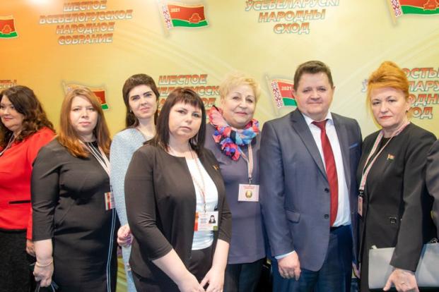 На VI Всебелорусском народном собрании 11 февраля 2021 г. с членами делегации Полоцкого района